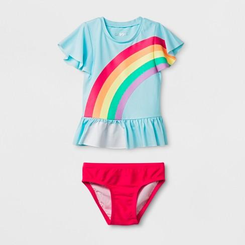 5c1115024a Toddler Girls' 2pc Short Sleeve Rainbow Rash Guard Set - Cat & Jack™ Blue