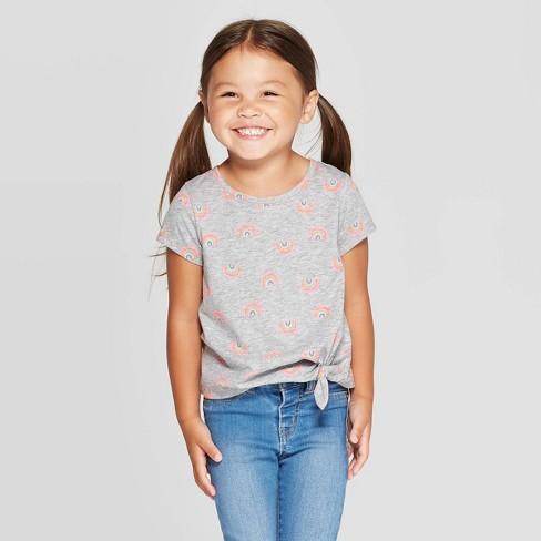 Toddler Girls' Short Sleeve Rainbow Tie Front T-Shirt - Cat & Jack™ Gray - image 1 of 3