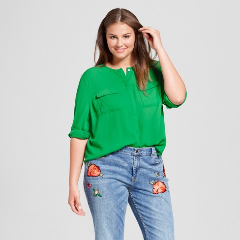 311061cfa9c407 Women's Plus Size Collarless Button-Up Blouse - Who What Wear ™ : Target