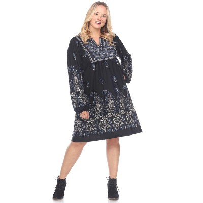 Women's Plus Size Apolline Embroidered Sweater Dress - White Mark
