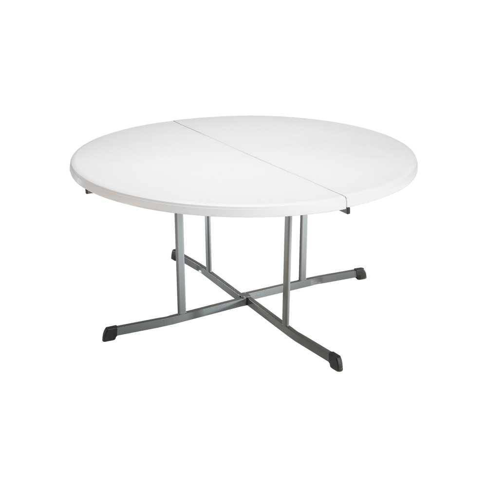 Image of 8pk Round Commercial Fold In Half Table White - Lifetime