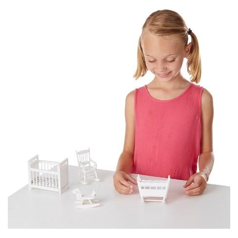 Melissa Doug Classic Wooden Dollhouse Nursery Furniture 4pc Crib Basinette Rocker Rocking Horse
