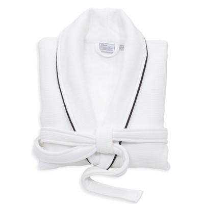 Waffle Terry Solid Bathrobe White/Black - Linum Home Textiles