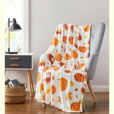 Kate Aurora Autumn Harvest Leaves & Pumpkin Pies Ultra Soft & Plush Throw Blankets