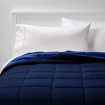 Full/Queen Reversible Microfiber Solid Comforter Navy/Blue - Room Essentials™