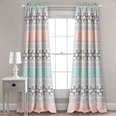 "2pc 52""x84"" Elephant Striped Window Curtain Panels - Lush Décor"