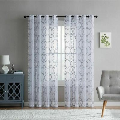 Kate Aurora Lani Geometric Grommet Sheer White Gray Curtain Panels (2 Pack)