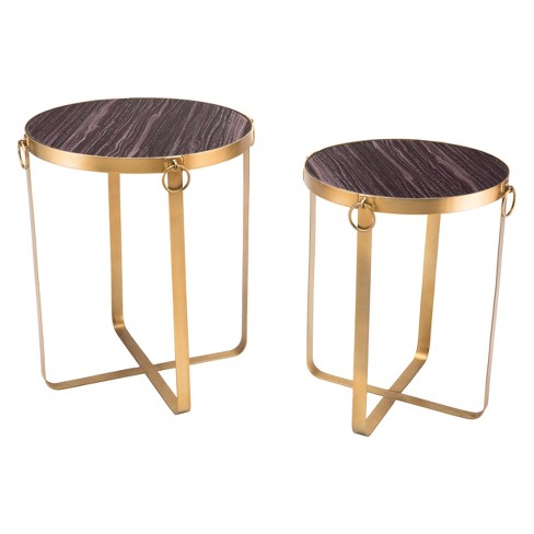 Printed Faux Onyx Round Tables (set Of 2) - Purple & Antique Gold - ZM Home