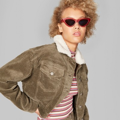 Women's Corduroy Sherpa Collar Jacket - Wild Fable™ Olive L