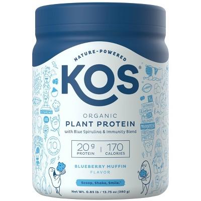 KOS Organic Vegan Meal Replacement Protein Powder - Blueberry Muffin - 13.75oz