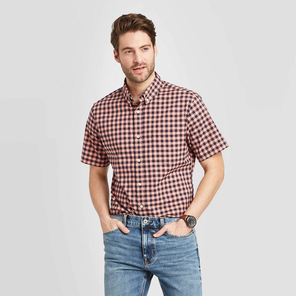 Men's Slim Fit Checked Short Sleeve Poplin Button-Down Shirt - Goodfellow & Co Bright Pink 2XL was $19.99 now $12.0 (40.0% off)