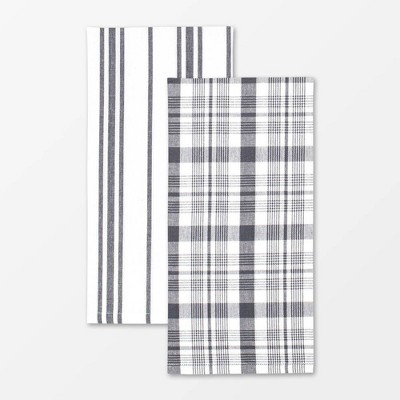 2pk Cotton Farmhouse Towel Gray - MU Kitchen