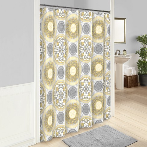 Gwenn Printed Shower Curtain Yellow - Vue - image 1 of 1
