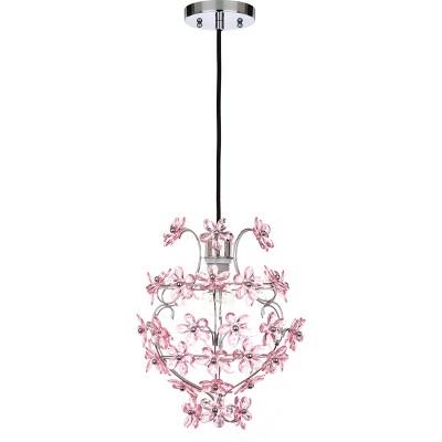 "16.5"" Raz Floral 1 Light Pendant Chrome/Pink - Safavieh"