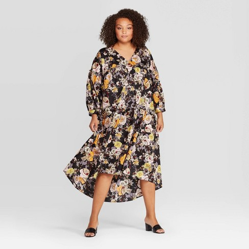 Women\'s Plus Size Floral Print Long Sleeve V-Neck Tiered Tent Midi Dress -  Who What Wear™ Black