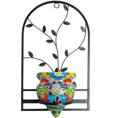 Wind & Weather Handcrafted Talavera-Style Terra Cotta Flat-Backed Wall Planter with Wrought Iron Hanger