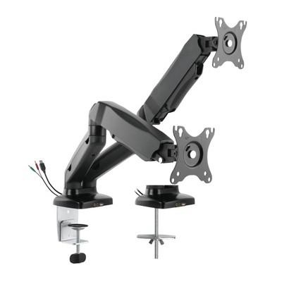 Premium Height Adjustable Double Monitor Arm Black - Rocelco