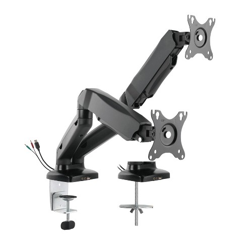 Premium Height Adjustable Double Monitor Arm Black - Rocelco - image 1 of 4