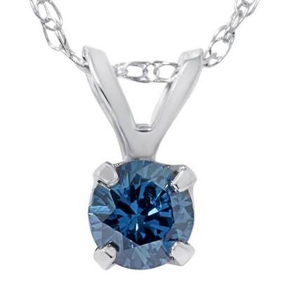 Pompeii3 1/2ct Blue Diamond Solitaire Pendant 14K White Gold