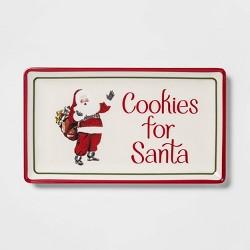 """13.1"""" x 7.5"""" Melamine Cookies For Santa Serving Platter White - Threshold™"""