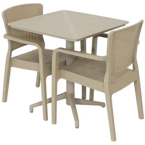 Segonia 3pc All-Weather Plastic Patio Dining Set - Tan - Sunnydaze Decor - image 1 of 4