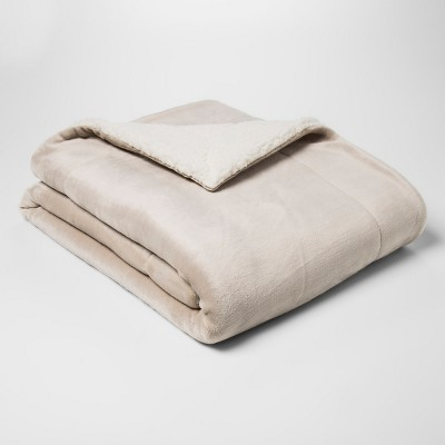 Solid Plush Reverse To Sherpa Throw Blanket Tan - Threshold™