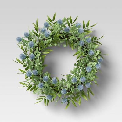"19"" Artificial Thistle Wreath Blue - Threshold™"