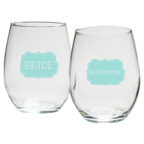 1f732b07672 4ct Kate Aspen Bride And Bridesmaids Something Blue 15 Oz. Stemless Wine  Glass