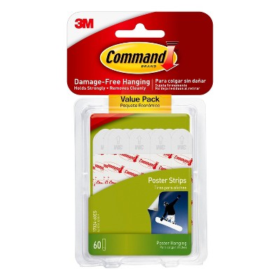 Command 60 Strips Poster Strips Value Pack Adhesives White