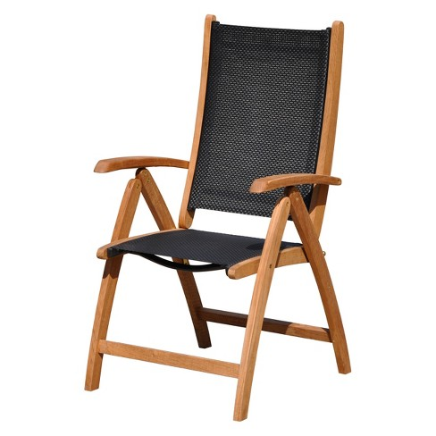 Burma Teak and Sling Outdoor Chair - Natural Finish - Courtyard Casual - image 1 of 3