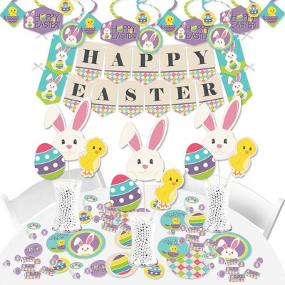 Big Dot of Happiness Hippity Hoppity - Easter Bunny Party Supplies - Banner Decoration Kit - Fundle Bundle