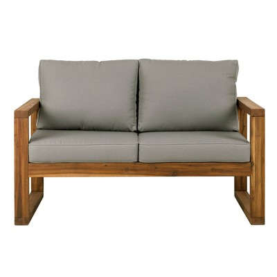 Open Side Love Seat with Cushions Brown - Saracina Home