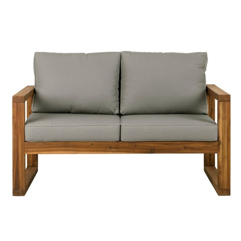 Open Side Love Seat with Cushions Brown - Saracina Home - image 1 of 4