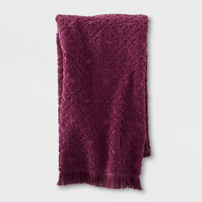 Soft Jacquard Accent Bath Towel Maroon - Opalhouse™