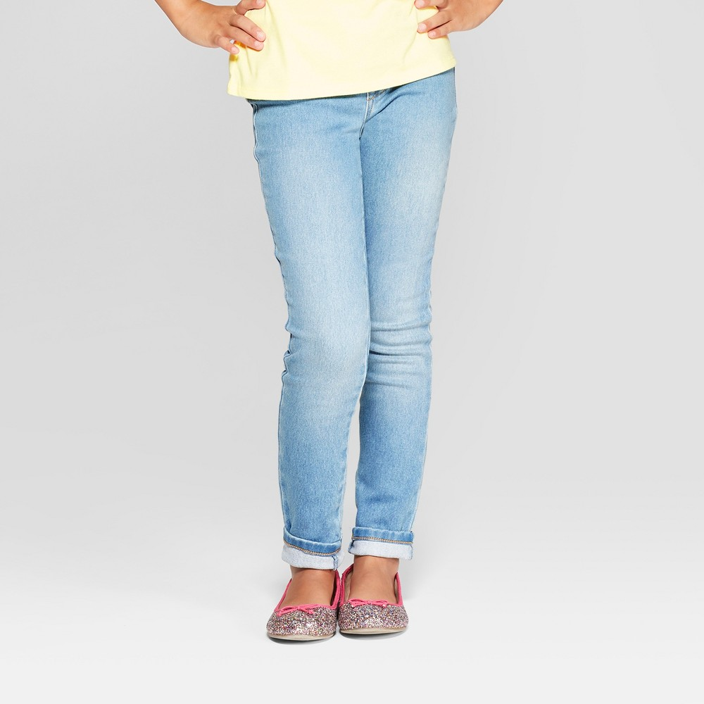 Girls' Cozy Pull-On Jeggings - Cat & Jack Light Wash 7