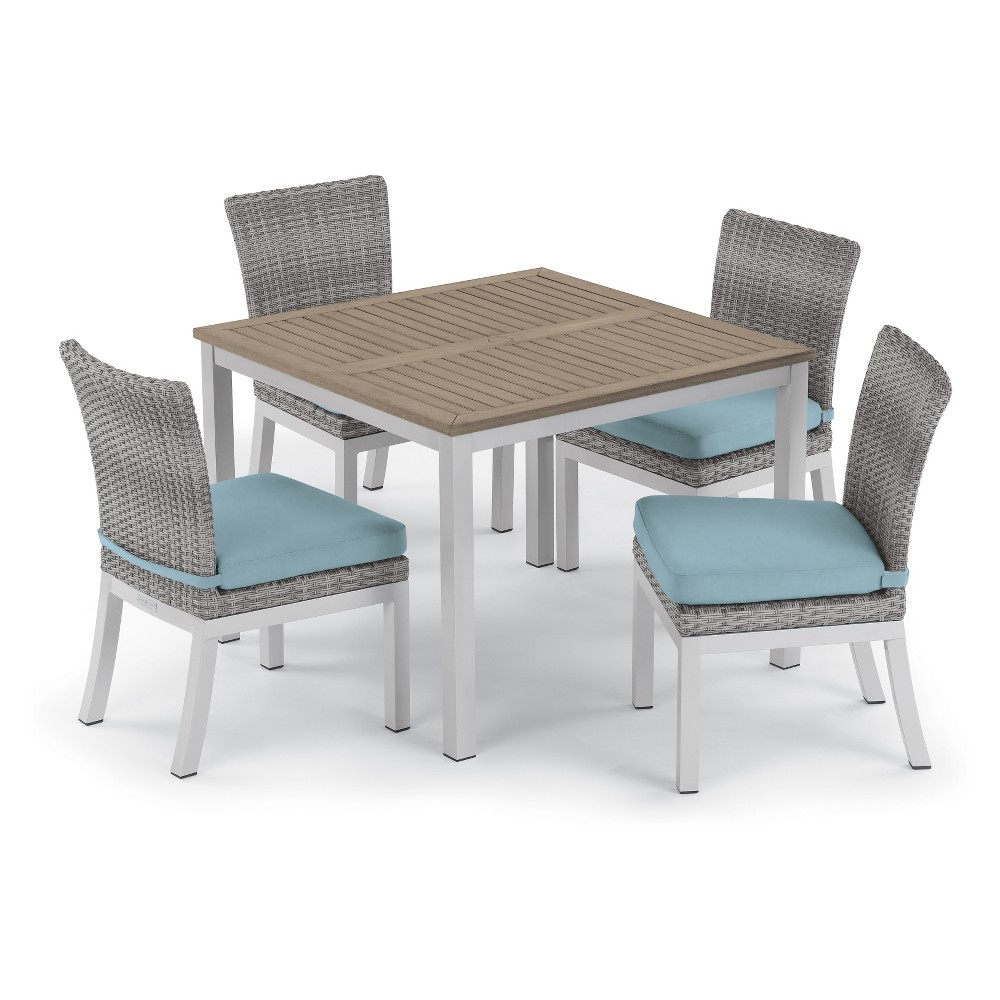 5pc Travira 39 Tekwood Vintage Dining Table & Argento Side Chair Set Ice Blue Cushions - Oxford Garden