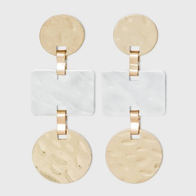Hammered Metal Multi-Shape Earrings - A New Day™ Gold