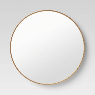 "30"" Flush Mount Round Decorative Wall Mirror Gold - Project 62™"