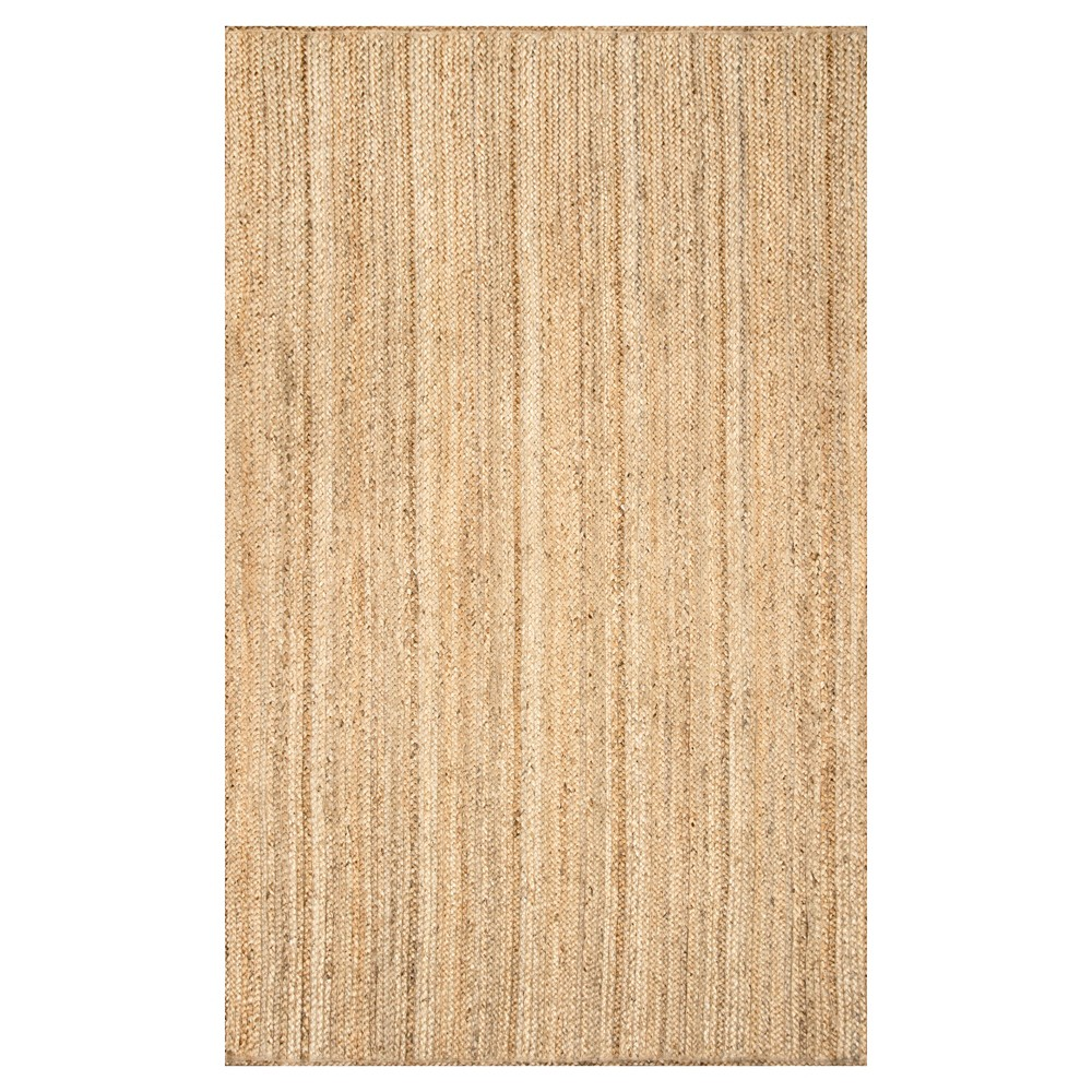 nuLOOM Hand Woven Rigo Jute Accent Rug - Off-White (3' x 5'), Natural