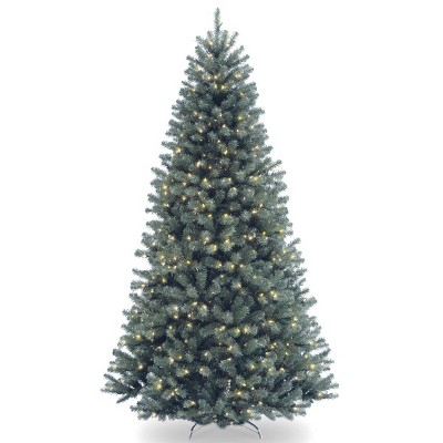 7.5ft National Tree Company Pre-Lit North Valley Spruce Blue Hinged Full Artificial Tree with 700 Clear Lights