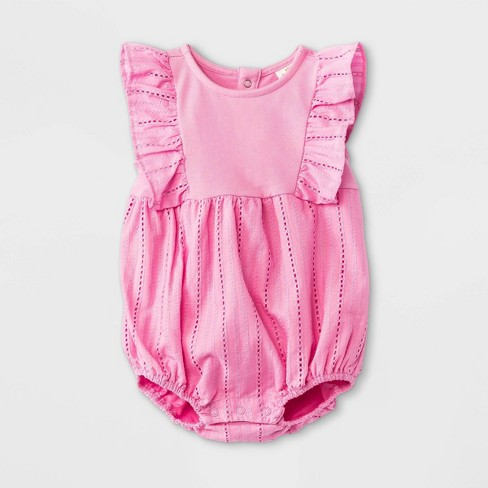 Baby Girls' Woven Elevated Ruffle Romper - Cat & Jack™ Pink - image 1 of 1