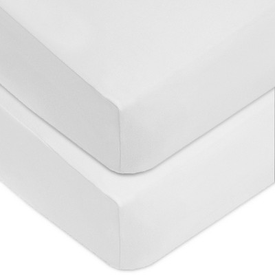 TL Care Fitted Cotton Crib Sheet - White - 2pk