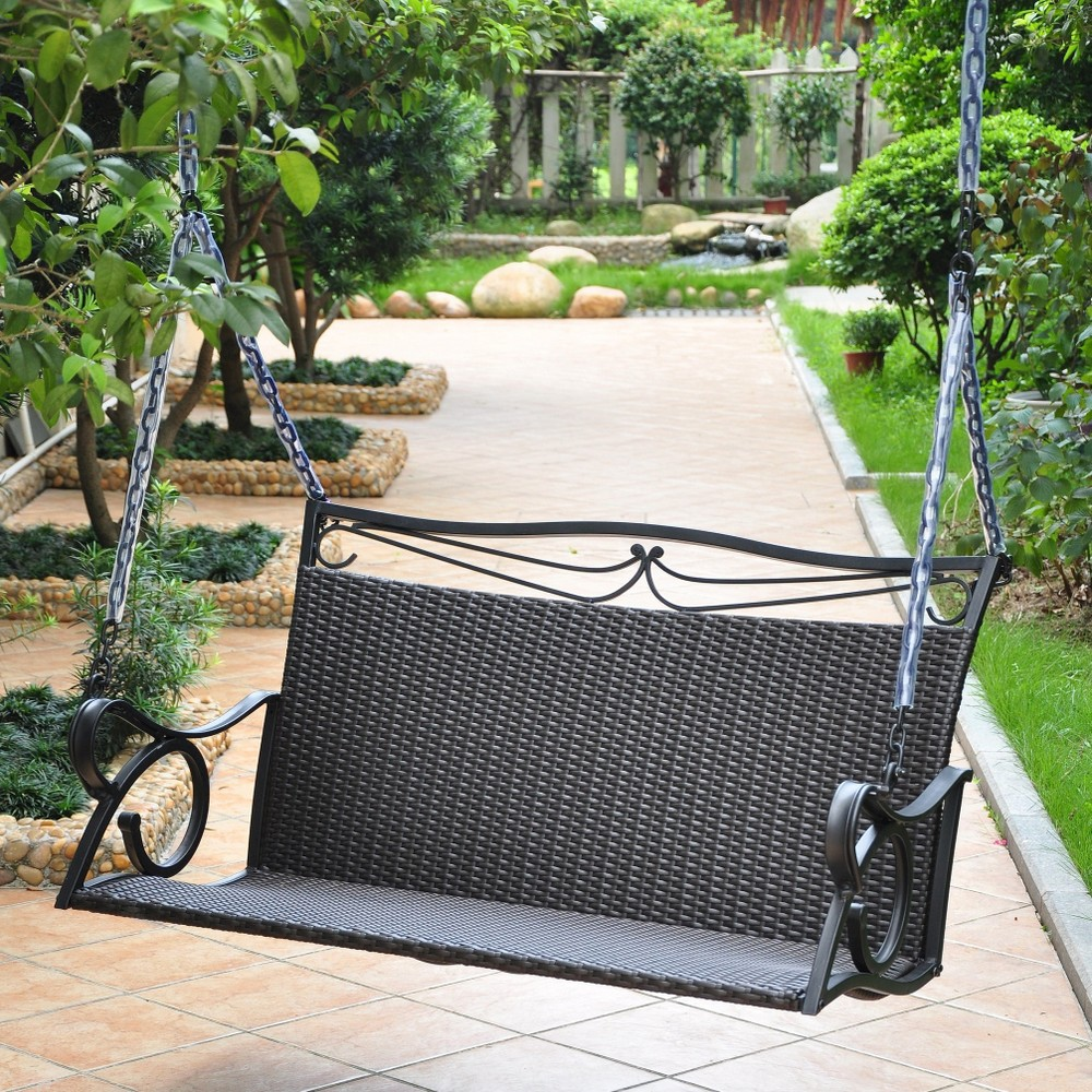 Image of International Caravan Valencia Wicker and Iron Patio Swing - Brown, Ant Black