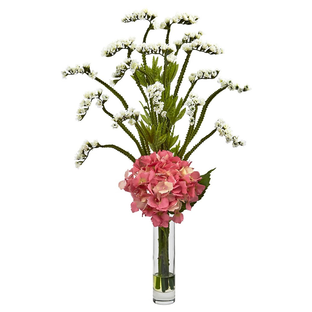 Image of Hydrangea and Statice Bud Silk Arrangement with Cylindrical Glass Vase - Nearly Natural, White