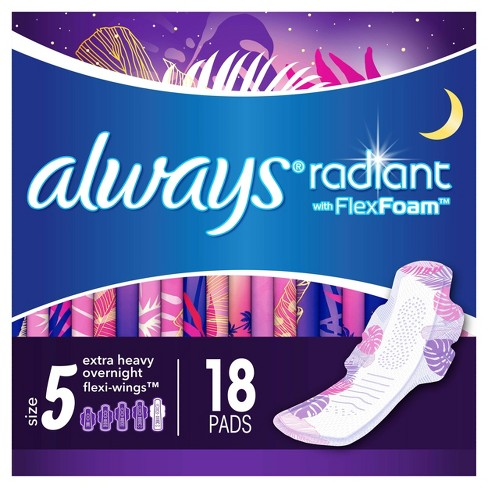 Always Radiant Extra Heavy Absorbency Overnight Sanitary Pads With Wings -  Scented - Size 5 - 18ct - image 1 of 4