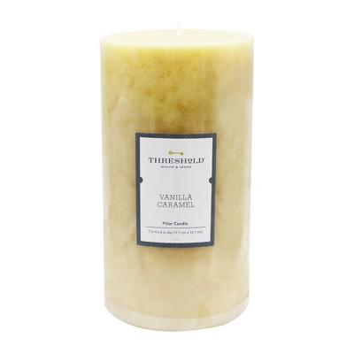 7  x 4  Mottled Pillar Candle Vanilla Caramel - Threshold™