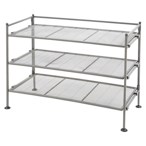 Seville Classics 3-Tier Mesh Utility Shoe Rack - Gray - image 1 of 3