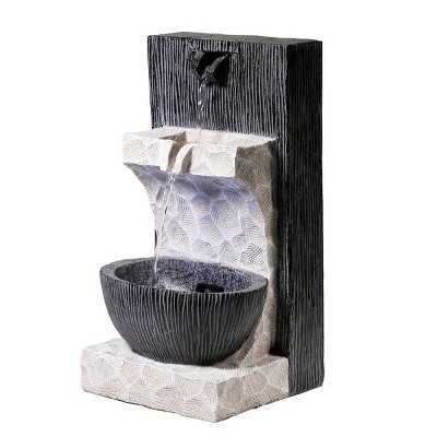 """Alpine 14"""" Modern Cascading Tabletop Fountain with LED Lights Gray"""