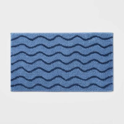 Wave Bath Rug Navy - Pillowfort™