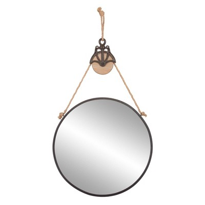 "24"" Round Metal Wall Mirror with Hanging Rope and Antique Pully Wood/Matte Black - Patton Wall Decor"